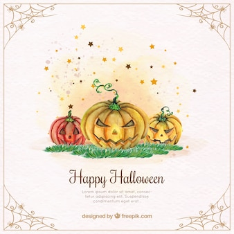 Watercolor halloween pumpkins background