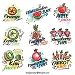 Watercolor hand drawn fruit and vegetable juices labels
