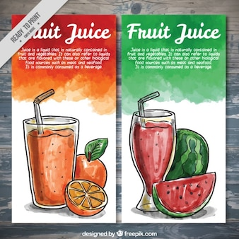 Watercolor hand drawn fruite juice brochures
