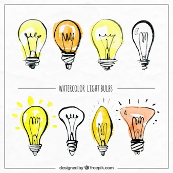 Watercolor hand drawn lightbulbs