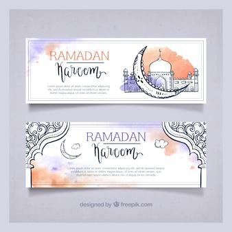Watercolor hand drawn ramadan kareem banners