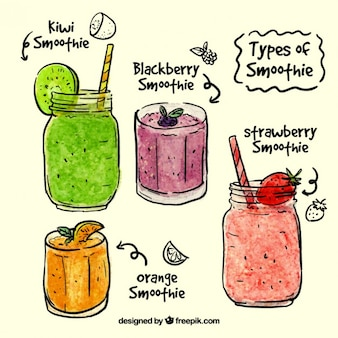Watercolor hand drawn summer juices