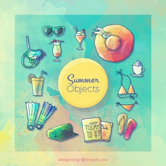 Watercolor hand drawn summer objects