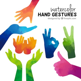Watercolor hand gestures