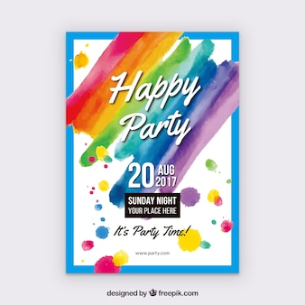 Watercolor happy party poster