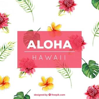 Watercolor hawaiian flowers background