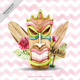Watercolor hawaiian mask with surfboards on a zig-zag background