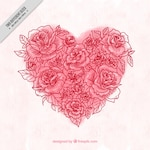 Watercolor heart background made of rose sketches