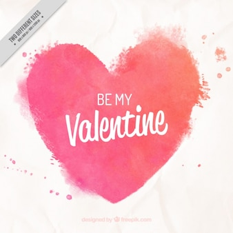 Watercolor heart background with phrase