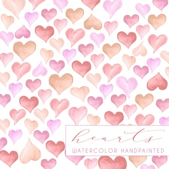 Watercolor hearts background design
