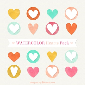 Watercolor hearts pack