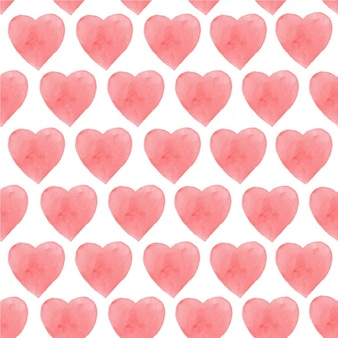 Watercolor hearts pattern design