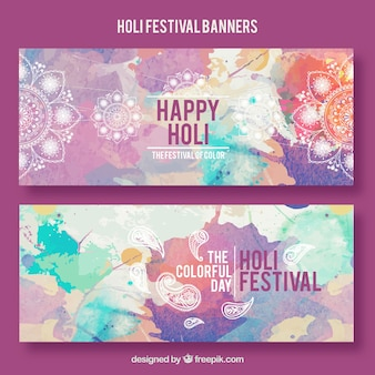 Watercolor Holi festival banners with mandala