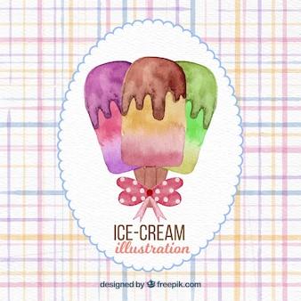 Watercolor ice cream background