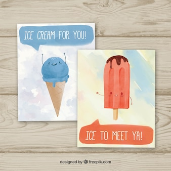 Watercolor ice cream cards
