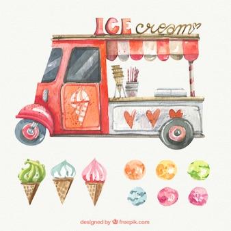 Watercolor ice-creams transport