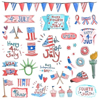 Watercolor independence day elements
