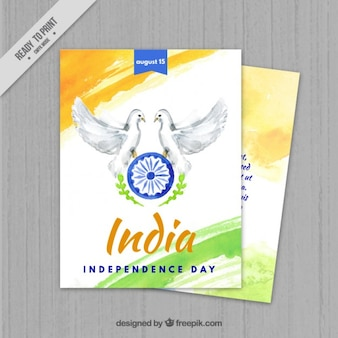Watercolor india independence day with doves card