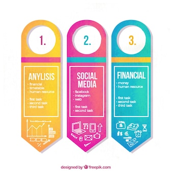 Watercolor infographic banners with decorative objects