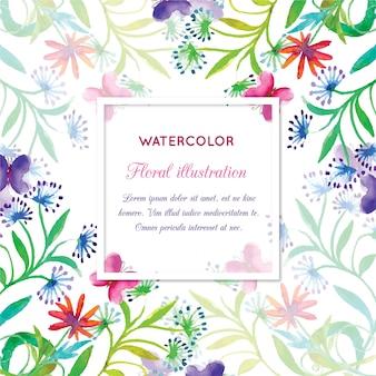 花のフレームと水彩画の招待