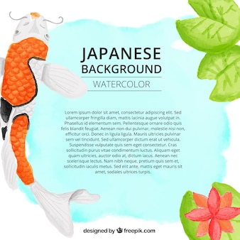 Watercolor japanese nature background