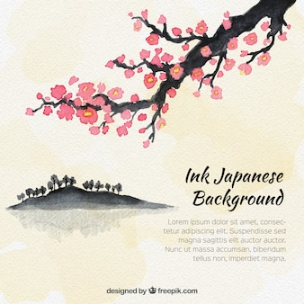 Watercolor japanese tree background
