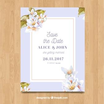 Watercolor jasmine card template