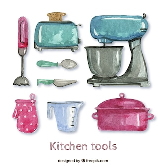 Watercolor kitchen tools