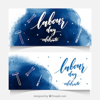 Watercolor labour day banners with tools