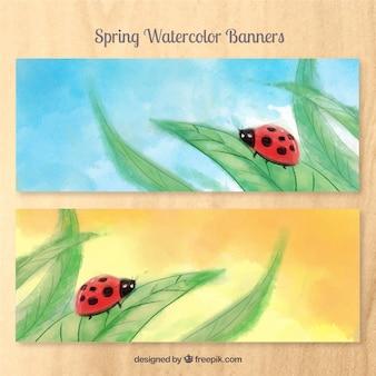 Watercolor ladybug banners