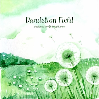 Watercolor landscape background with dandelions