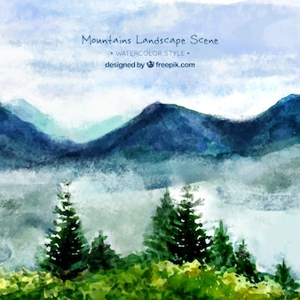 Watercolor landscape background with mountains and pines