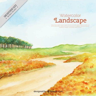 Watercolor landscape with a path