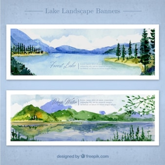 Watercolor landscapes with lake and mountains