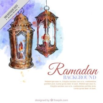 Watercolor lanterns ramadan background