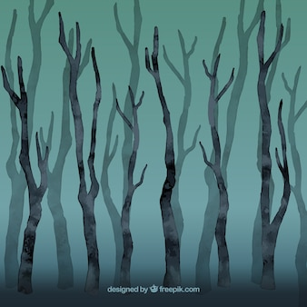 Watercolor leafless forest