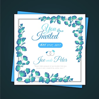 Watercolor leafs wedding invitation