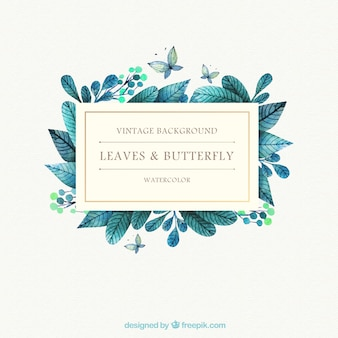 Watercolor leaves and butterfly background