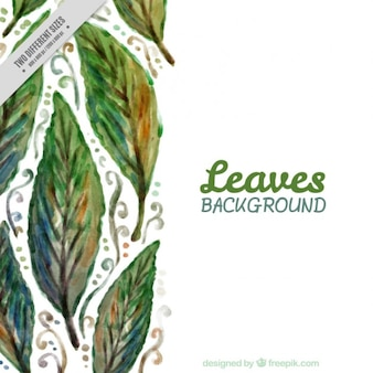 Watercolor leaves nature background