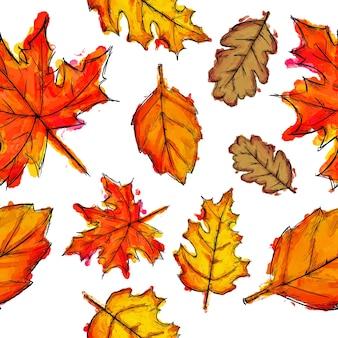 水彩葉パターンの背景