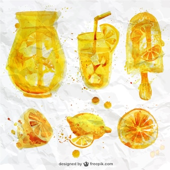 Watercolor lemon juice