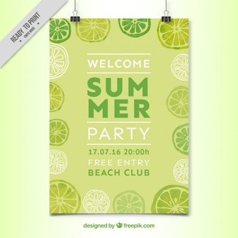 Watercolor lemons summer party poster