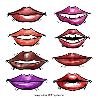 Watercolor lips collection