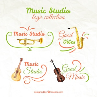 Watercolor logos collection of music studio