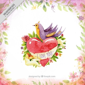 Watercolor love background