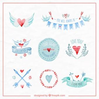 Watercolor love badges