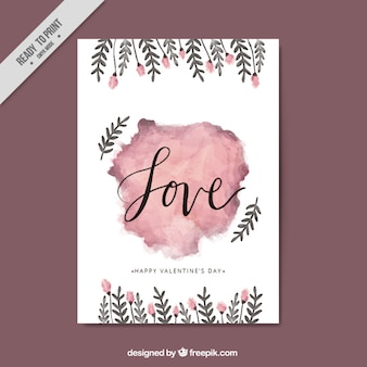 Watercolor love card with flowers