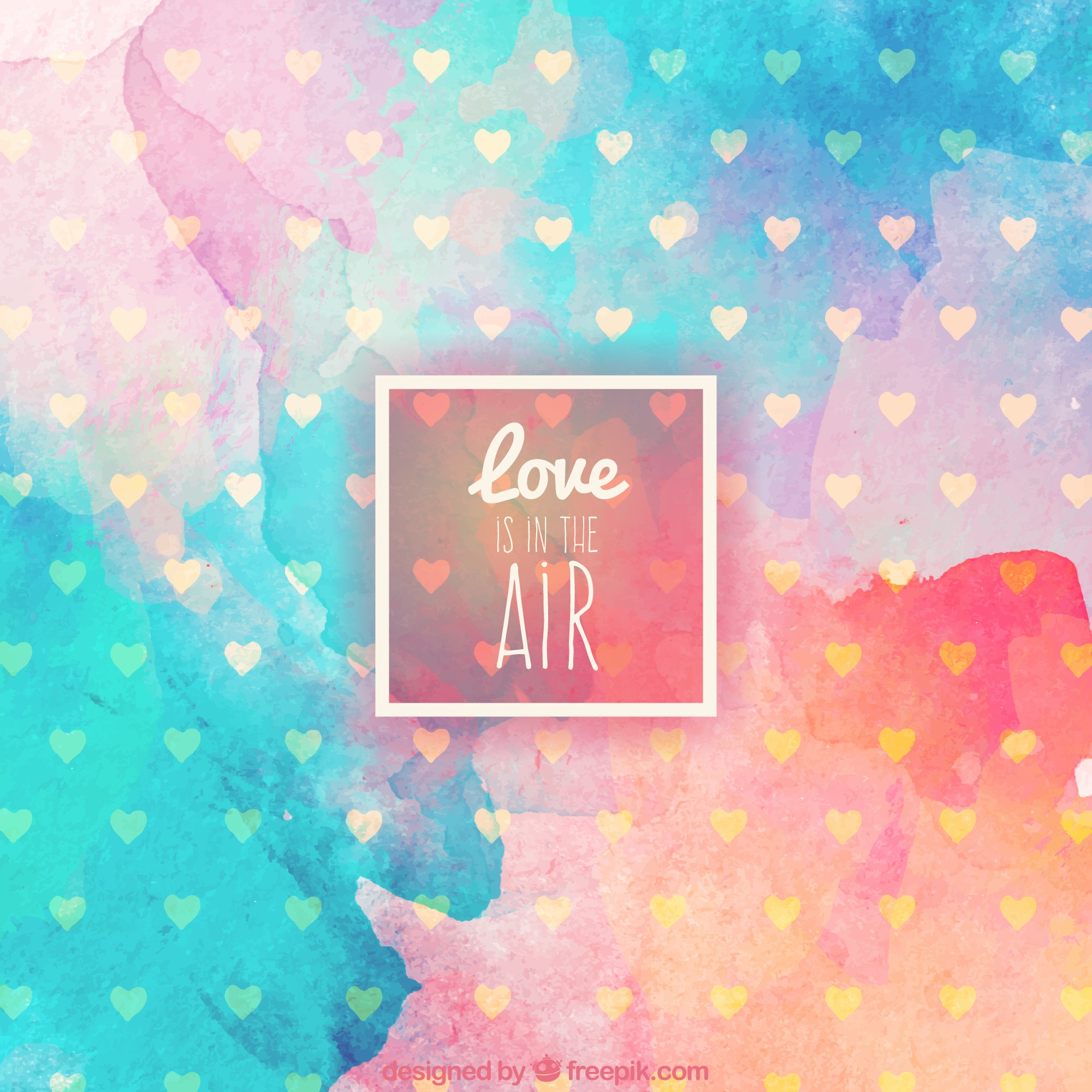 Watercolor love is in the air background