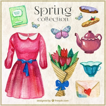 Watercolor lovely spring objects