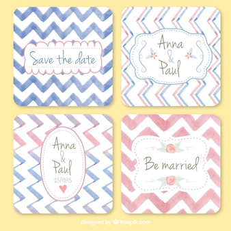 Watercolor lovely wedding cards with zig-zag lines